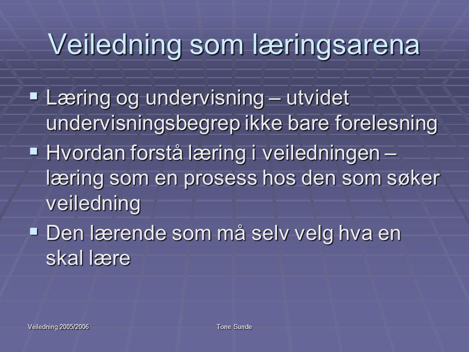 Veiledning 2005/2006Tone Sunde Veiledning som læringsarena  Læring og undervisning – utvidet undervisningsbegrep ikke bare forelesning  Hvordan fors
