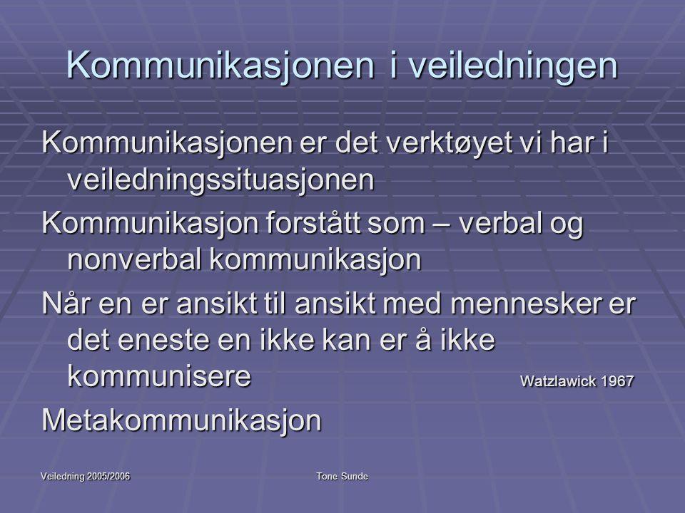 Veiledning 2005/2006Tone Sunde Kommunikasjonen i veiledningen Kommunikasjonen er det verktøyet vi har i veiledningssituasjonen Kommunikasjon forstått