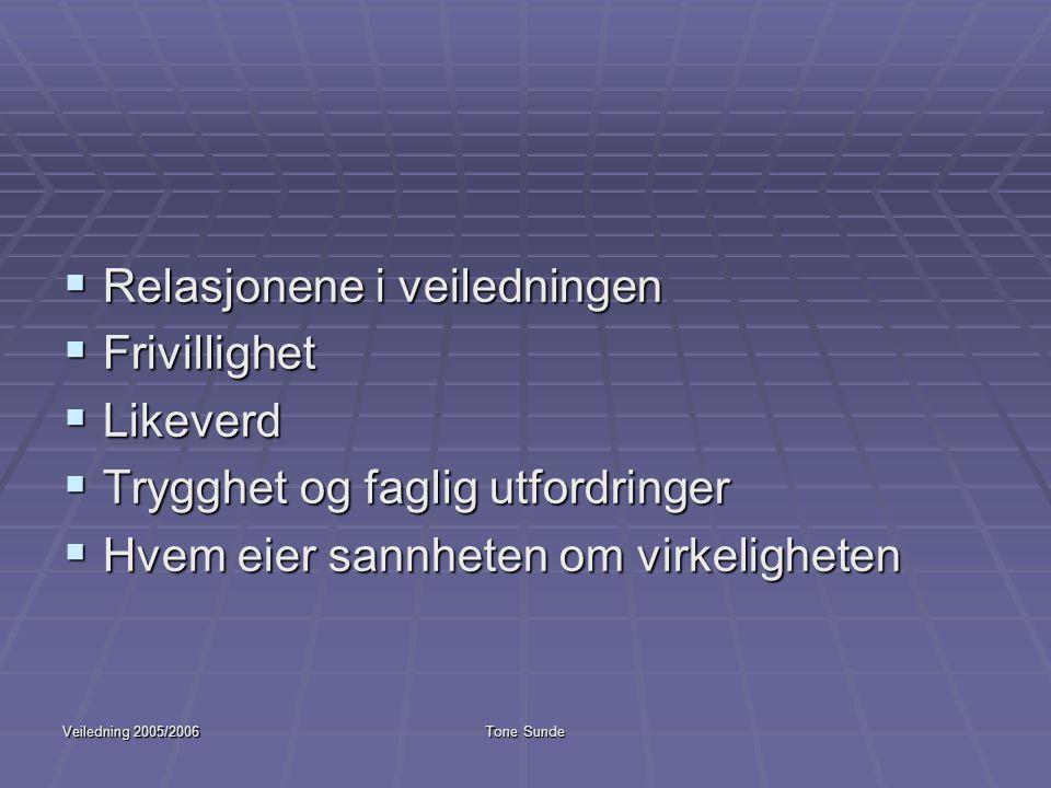Veiledning 2005/2006Tone Sunde  Relasjonene i veiledningen  Frivillighet  Likeverd  Trygghet og faglig utfordringer  Hvem eier sannheten om virke