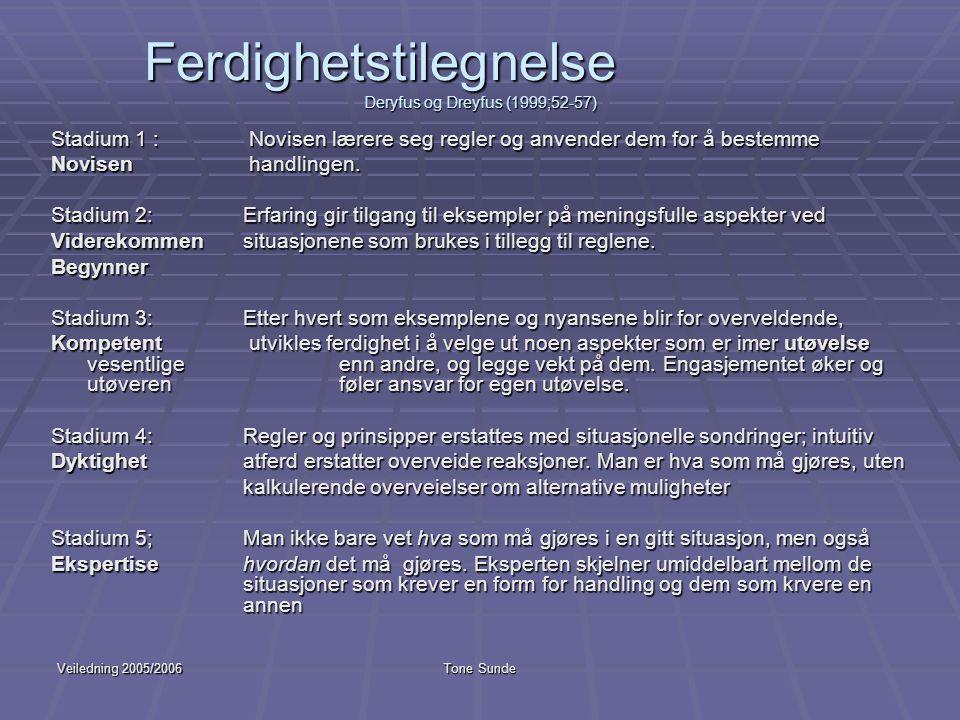 Veiledning 2005/2006Tone Sunde Ferdighetstilegnelse Deryfus og Dreyfus (1999;52-57) Stadium 1 : Novisen lærere seg regler og anvender dem for å bestem