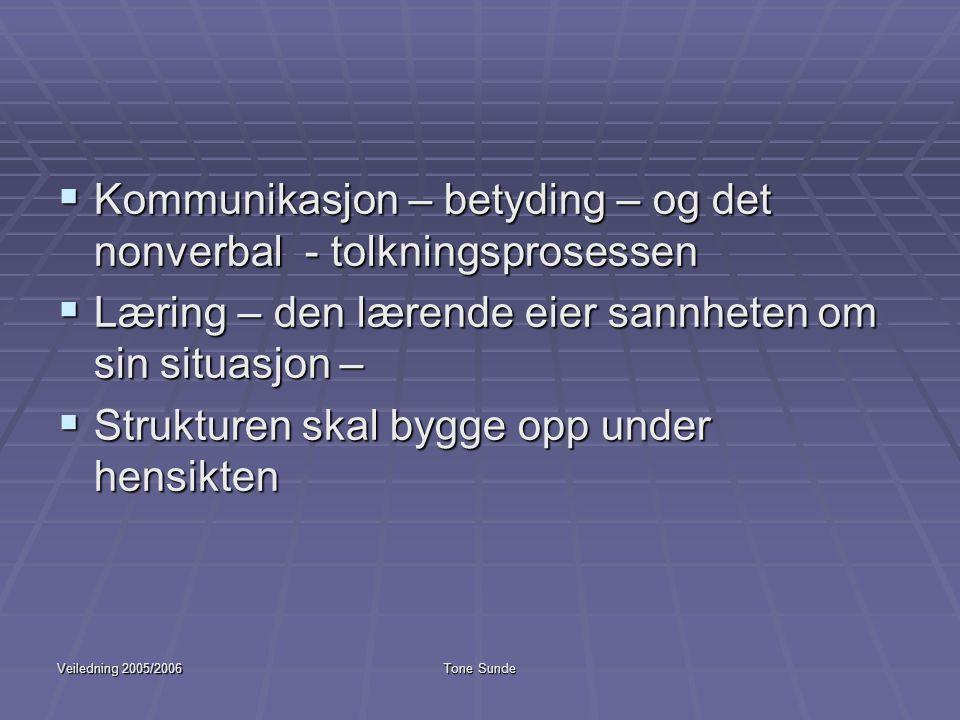 Veiledning 2005/2006Tone Sunde  Kommunikasjon – betyding – og det nonverbal - tolkningsprosessen  Læring – den lærende eier sannheten om sin situasj