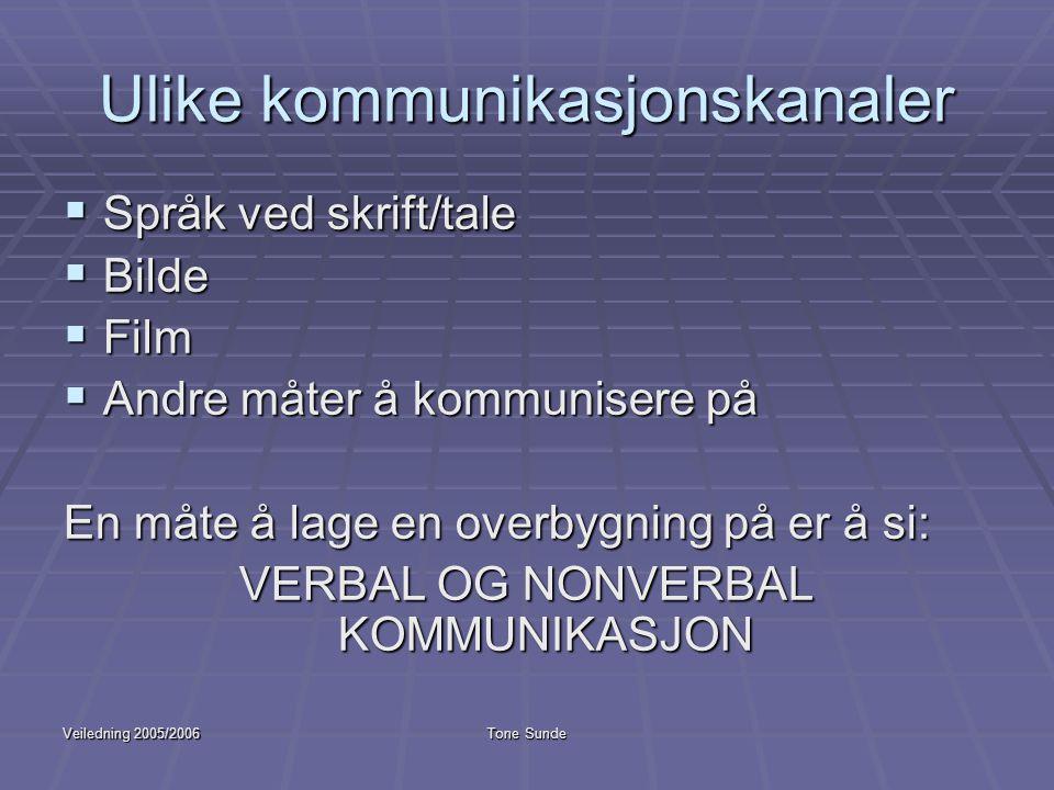 Veiledning 2005/2006Tone Sunde Ulike kommunikasjonskanaler  Språk ved skrift/tale  Bilde  Film  Andre måter å kommunisere på En måte å lage en ove