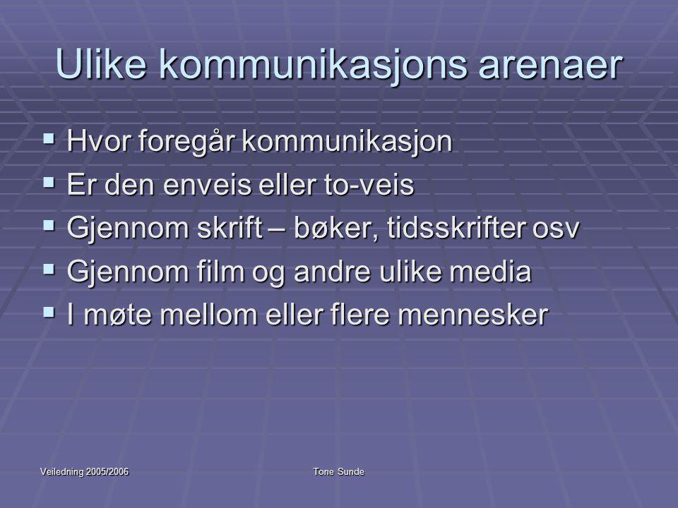 Veiledning 2005/2006Tone Sunde Ulike kommunikasjons arenaer  Hvor foregår kommunikasjon  Er den enveis eller to-veis  Gjennom skrift – bøker, tidss