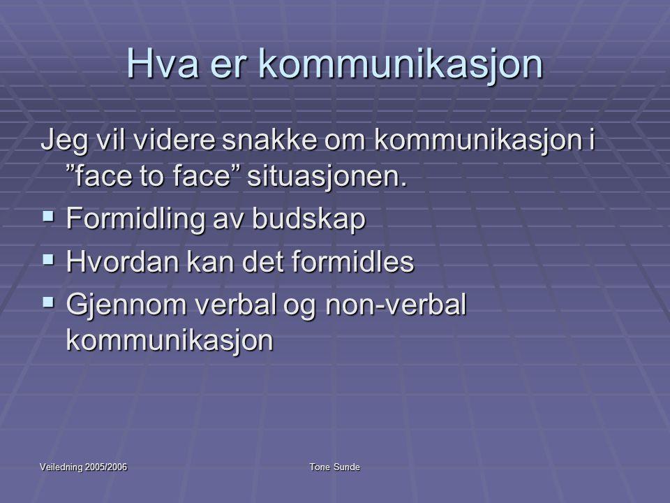 """Veiledning 2005/2006Tone Sunde Hva er kommunikasjon Jeg vil videre snakke om kommunikasjon i """"face to face"""" situasjonen.  Formidling av budskap  Hvo"""