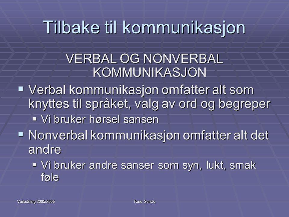 Veiledning 2005/2006Tone Sunde Tilbake til kommunikasjon VERBAL OG NONVERBAL KOMMUNIKASJON  Verbal kommunikasjon omfatter alt som knyttes til språket