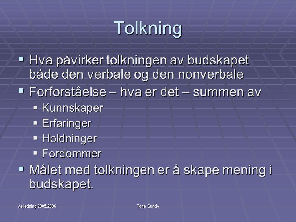 Veiledning 2005/2006Tone Sunde Tolkning  Hva påvirker tolkningen av budskapet både den verbale og den nonverbale  Forforståelse – hva er det – summe