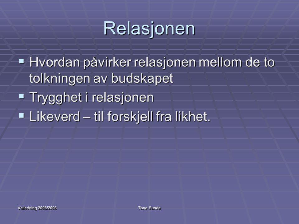 Veiledning 2005/2006Tone Sunde Relasjonen  Hvordan påvirker relasjonen mellom de to tolkningen av budskapet  Trygghet i relasjonen  Likeverd – til