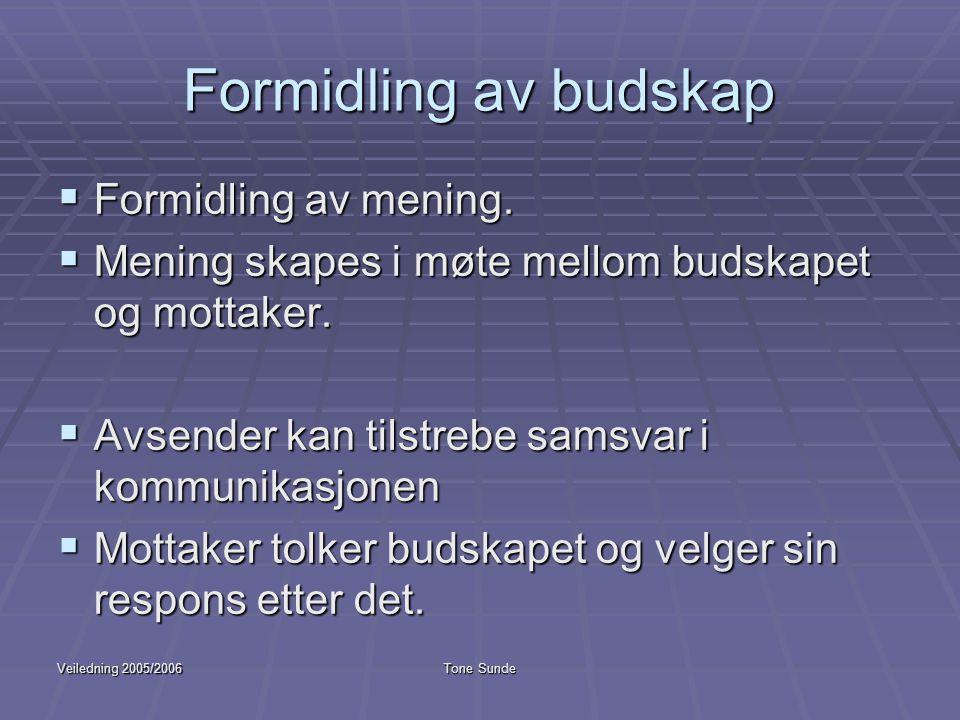Veiledning 2005/2006Tone Sunde Formidling av budskap  Formidling av mening.  Mening skapes i møte mellom budskapet og mottaker.  Avsender kan tilst