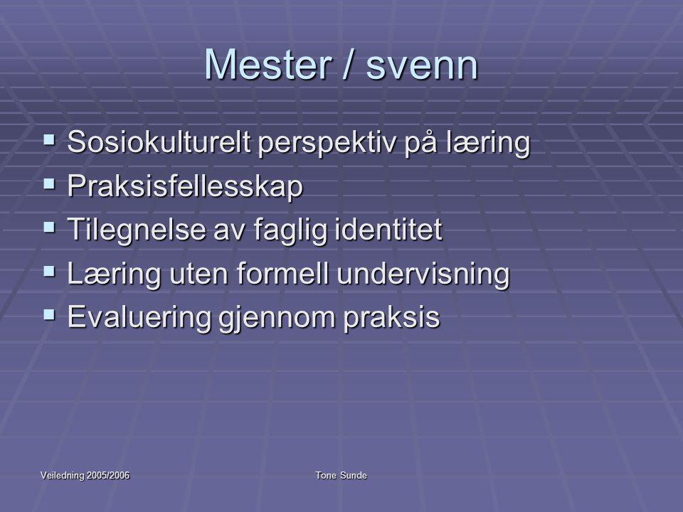 Veiledning 2005/2006Tone Sunde Mester / svenn  Sosiokulturelt perspektiv på læring  Praksisfellesskap  Tilegnelse av faglig identitet  Læring uten