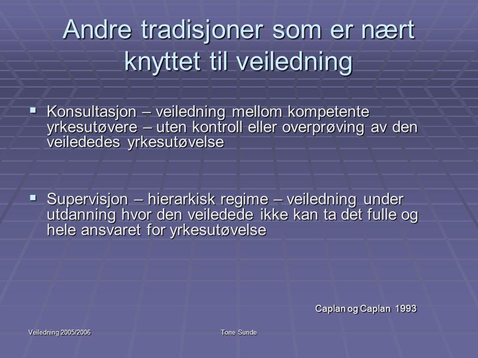 Veiledning 2005/2006Tone Sunde Andre tradisjoner som er nært knyttet til veiledning  Konsultasjon – veiledning mellom kompetente yrkesutøvere – uten
