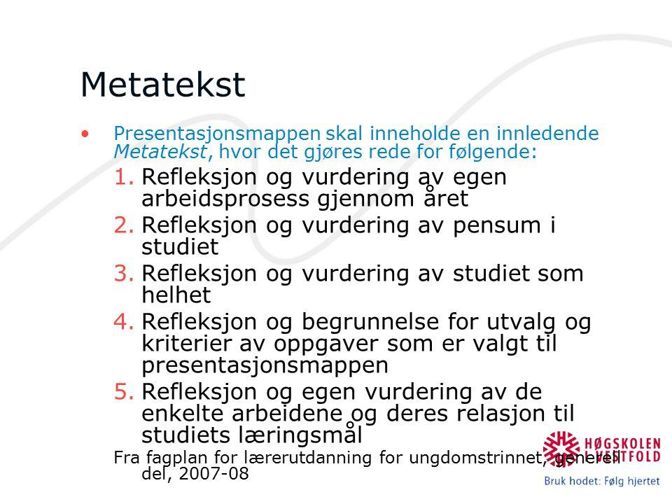 Metatekst Presentasjonsmappen skal inneholde en innledende Metatekst, hvor det gjøres rede for følgende: 1.Refleksjon og vurdering av egen arbeidspros