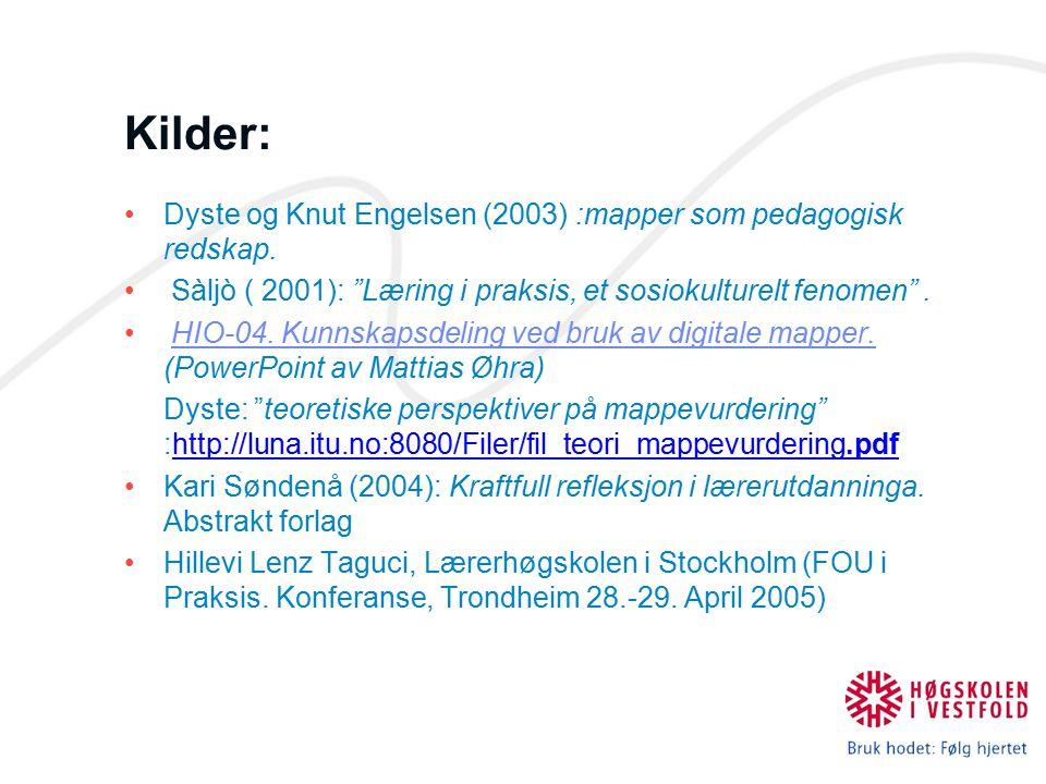 """Kilder: Dyste og Knut Engelsen (2003) :mapper som pedagogisk redskap. Sàljò ( 2001): """"Læring i praksis, et sosiokulturelt fenomen"""". HIO-04. Kunnskapsd"""