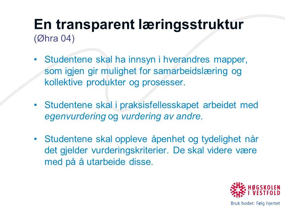 En transparent læringsstruktur (Øhra 04) Studentene skal ha innsyn i hverandres mapper, som igjen gir mulighet for samarbeidslæring og kollektive prod