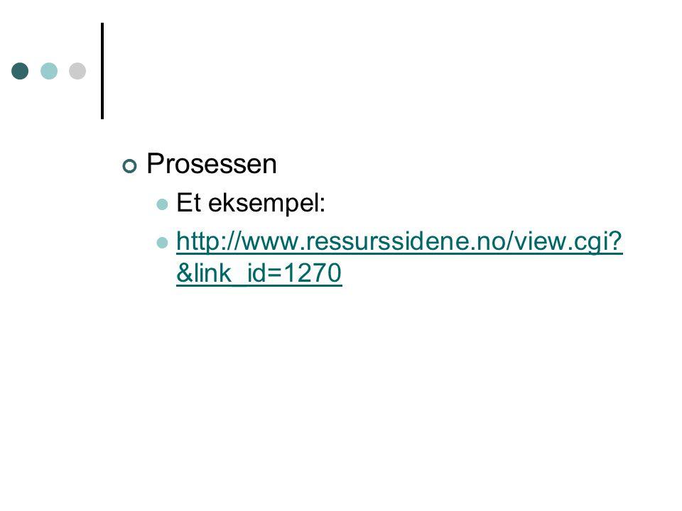 Prosessen Et eksempel: http://www.ressurssidene.no/view.cgi? &link_id=1270 http://www.ressurssidene.no/view.cgi? &link_id=1270