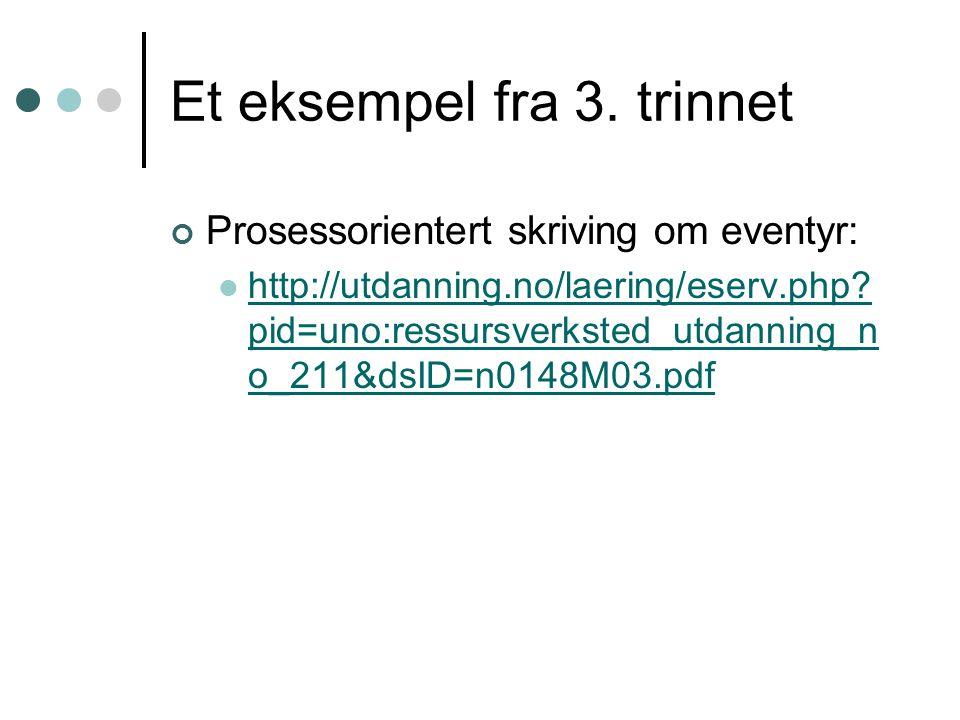 Et eksempel fra 3. trinnet Prosessorientert skriving om eventyr: http://utdanning.no/laering/eserv.php? pid=uno:ressursverksted_utdanning_n o_211&dsID