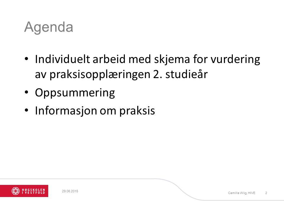 Agenda Individuelt arbeid med skjema for vurdering av praksisopplæringen 2. studieår Oppsummering Informasjon om praksis Camilla Wiig, HIVE2 29.06.201