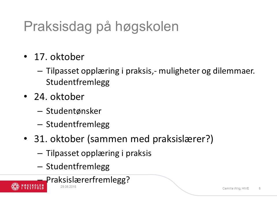 Praksisdag på høgskolen 17. oktober – Tilpasset opplæring i praksis,- muligheter og dilemmaer.