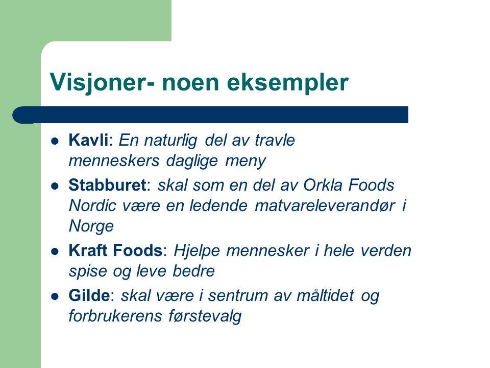 Visjoner- noen eksempler Kavli: En naturlig del av travle menneskers daglige meny Stabburet: skal som en del av Orkla Foods Nordic være en ledende mat