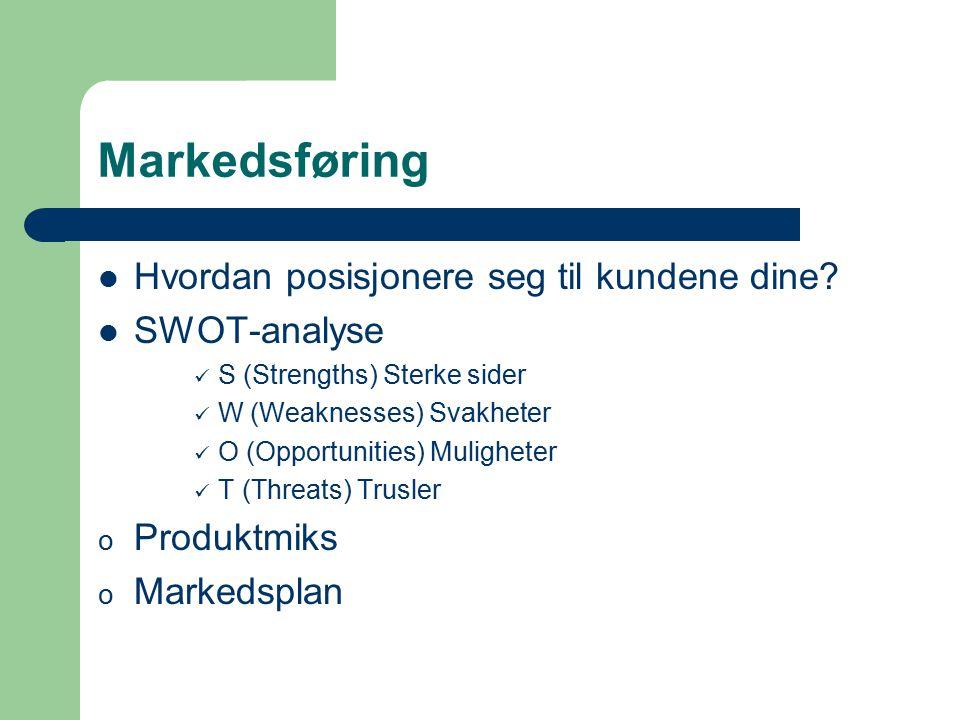 Markedsføring Hvordan posisjonere seg til kundene dine? SWOT-analyse S (Strengths) Sterke sider W (Weaknesses) Svakheter O (Opportunities) Muligheter