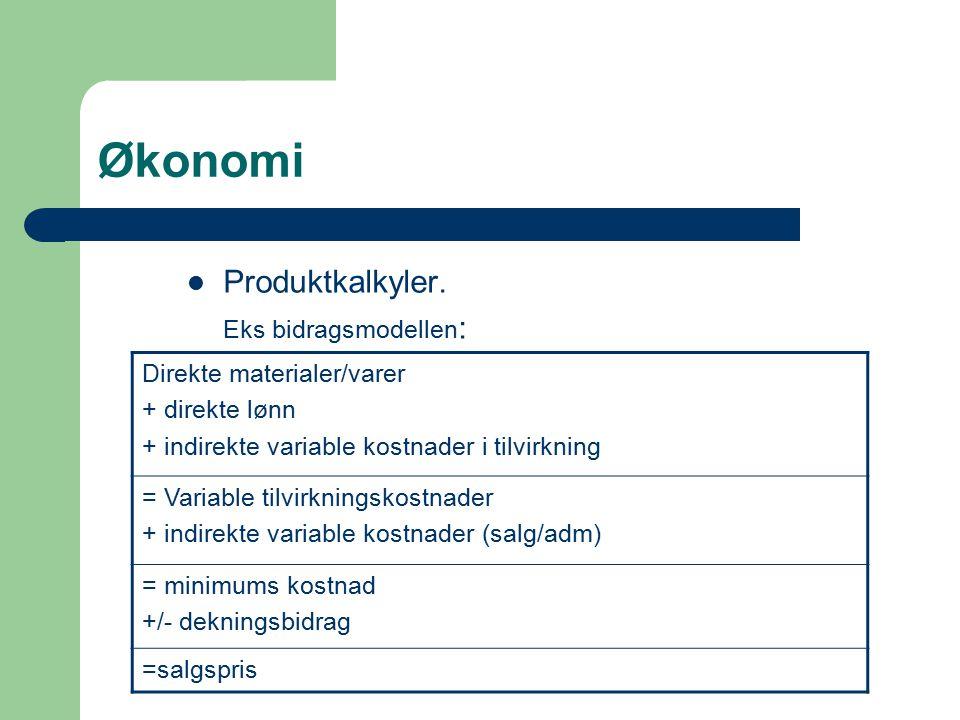 Økonomi Produktkalkyler. Eks bidragsmodellen : Direkte materialer/varer + direkte lønn + indirekte variable kostnader i tilvirkning = Variable tilvirk
