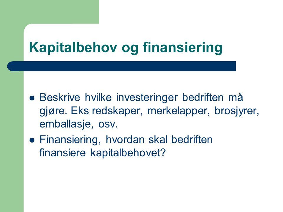 Kapitalbehov og finansiering Beskrive hvilke investeringer bedriften må gjøre. Eks redskaper, merkelapper, brosjyrer, emballasje, osv. Finansiering, h