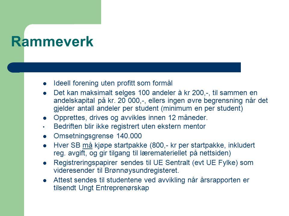 Rammeverk Ideell forening uten profitt som formål Det kan maksimalt selges 100 andeler à kr 200,-, til sammen en andelskapital på kr. 20 000,-, ellers