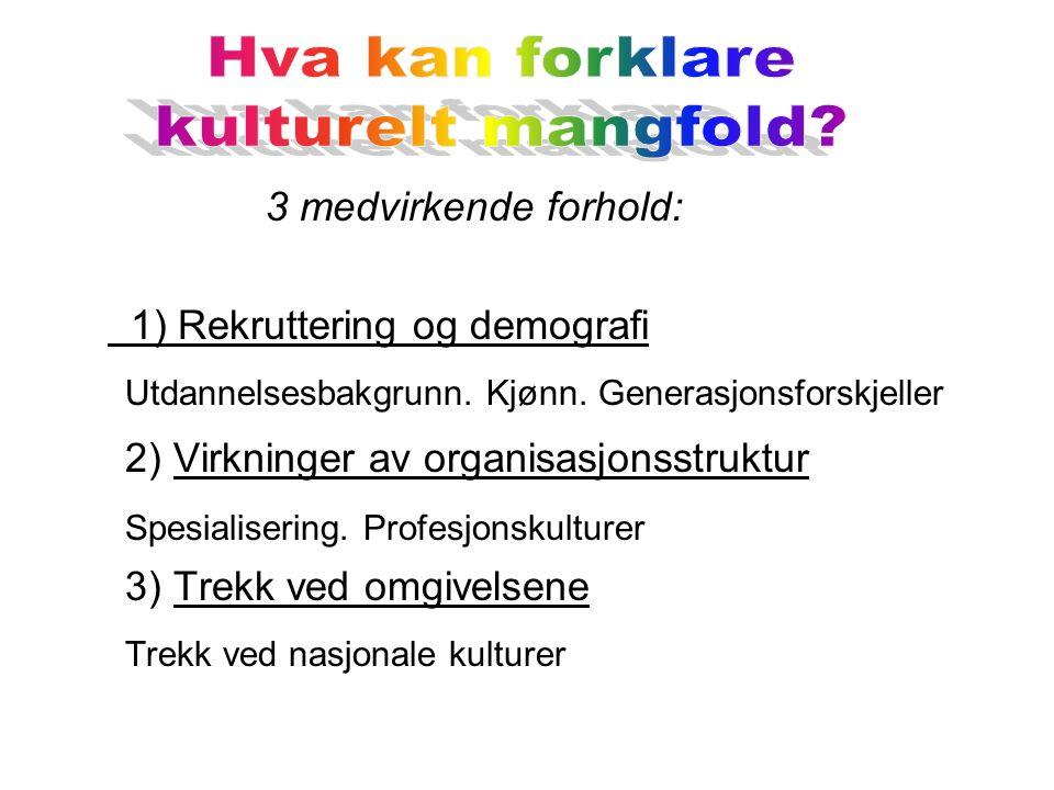 3 medvirkende forhold: 1) Rekruttering og demografi Utdannelsesbakgrunn.