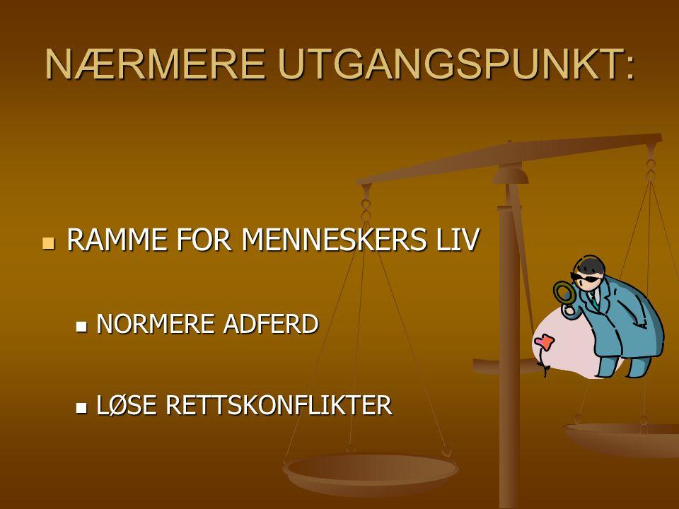 NÆRMERE UTGANGSPUNKT: RAMME FOR MENNESKERS LIV RAMME FOR MENNESKERS LIV NORMERE ADFERD NORMERE ADFERD LØSE RETTSKONFLIKTER LØSE RETTSKONFLIKTER