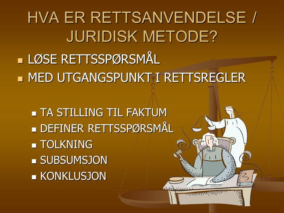 HVA ER RETTSANVENDELSE / JURIDISK METODE.