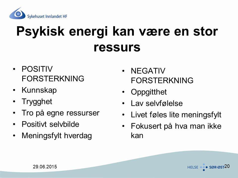 20 Psykisk energi kan være en stor ressurs POSITIV FORSTERKNING Kunnskap Trygghet Tro på egne ressurser Positivt selvbilde Meningsfylt hverdag NEGATIV