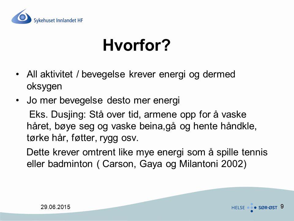9 Hvorfor? All aktivitet / bevegelse krever energi og dermed oksygen Jo mer bevegelse desto mer energi Eks. Dusjing: Stå over tid, armene opp for å va