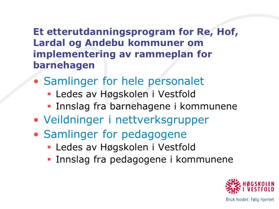 Et etterutdanningsprogram for Re, Hof, Lardal og Andebu kommuner om implementering av rammeplan for barnehagen Samlinger for hele personalet  Ledes a