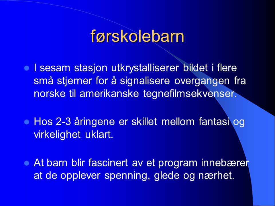 førskolebarn I sesam stasjon utkrystalliserer bildet i flere små stjerner for å signalisere overgangen fra norske til amerikanske tegnefilmsekvenser.
