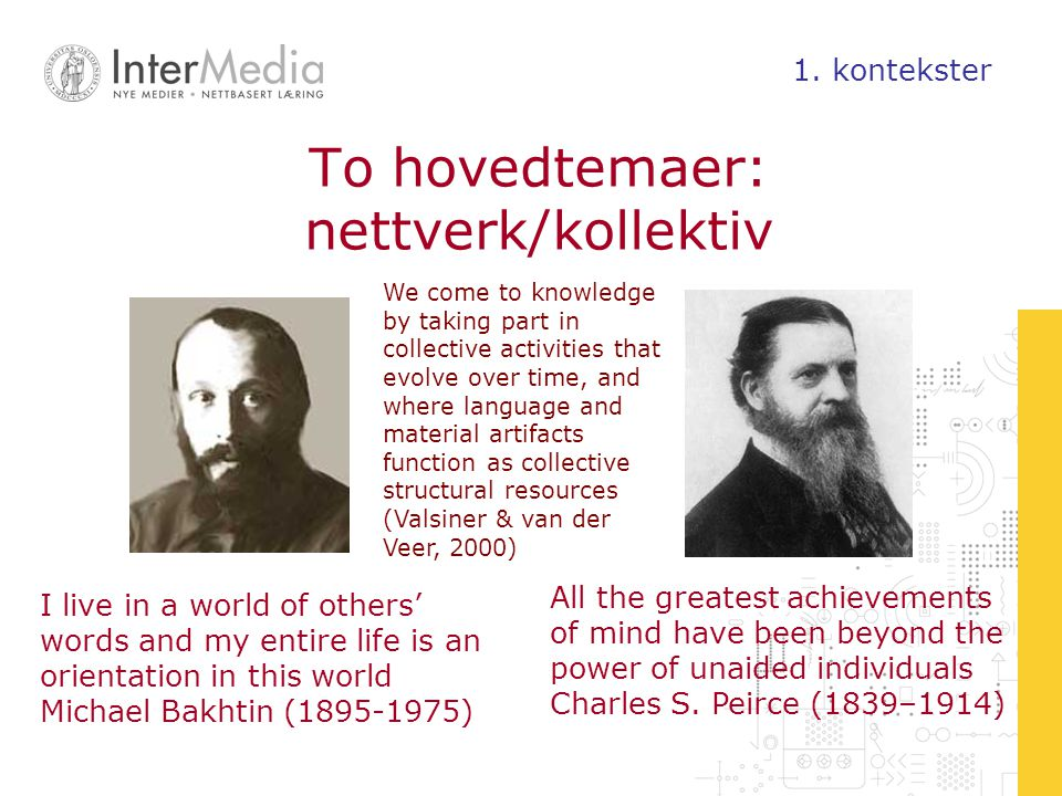 To hovedtemaer: nettverk/kollektiv I live in a world of others' words and my entire life is an orientation in this world Michael Bakhtin (1895-1975) All the greatest achievements of mind have been beyond the power of unaided individuals Charles S.