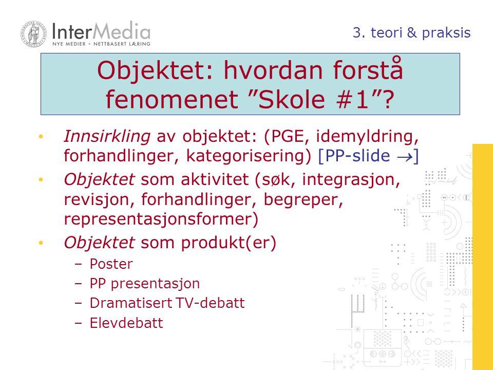 """Objektet: hvordan forstå fenomenet """"Skole #1""""? Innsirkling av objektet: (PGE, idemyldring, forhandlinger, kategorisering) [PP-slide ] Objektet som ak"""