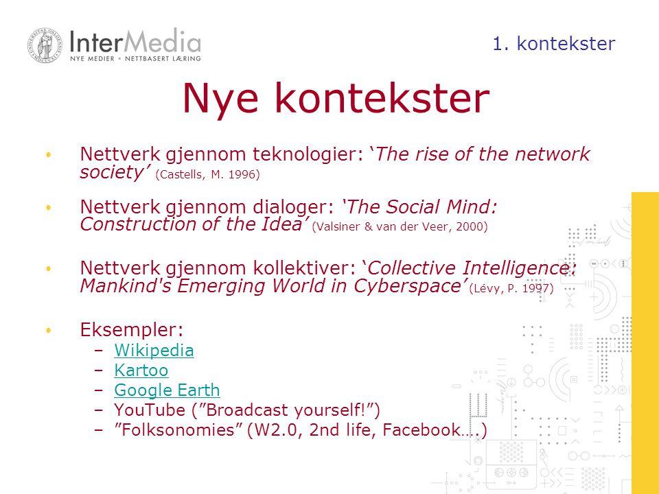 Nye kontekster Nettverk gjennom teknologier: 'The rise of the network society' (Castells, M. 1996) Nettverk gjennom dialoger: 'The Social Mind: Constr