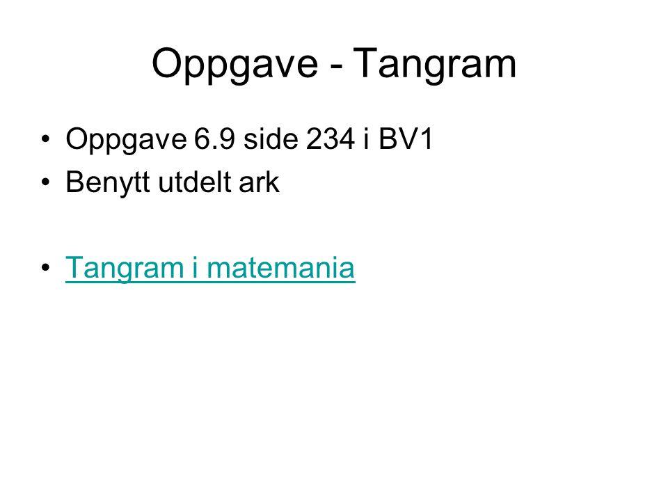 Oppgave - Tangram Oppgave 6.9 side 234 i BV1 Benytt utdelt ark Tangram i matemania