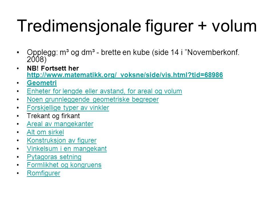 Tredimensjonale figurer + volum Opplegg: m³ og dm³ - brette en kube (side 14 i Novemberkonf.