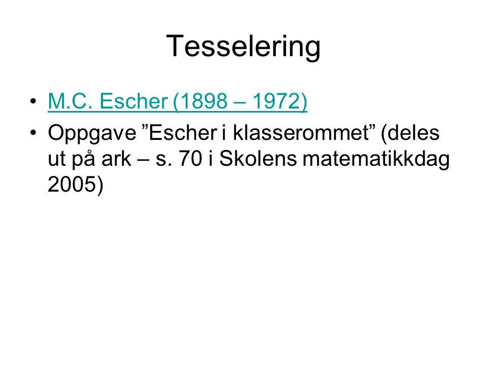 Tesselering M.C.Escher (1898 – 1972) Oppgave Escher i klasserommet (deles ut på ark – s.