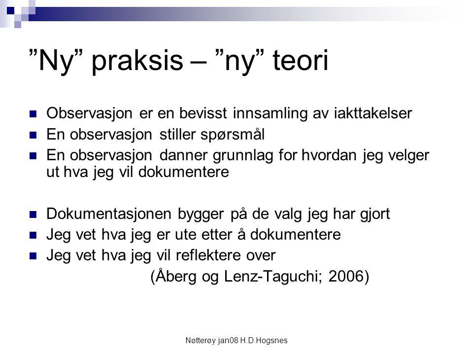"""Nøtterøy jan08 H.D.Hogsnes """"Ny"""" praksis – """"ny"""" teori Observasjon er en bevisst innsamling av iakttakelser En observasjon stiller spørsmål En observasj"""