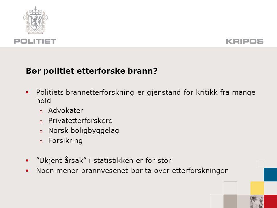 Bør politiet etterforske brann?  Politiets brannetterforskning er gjenstand for kritikk fra mange hold  Advokater  Privatetterforskere  Norsk boli