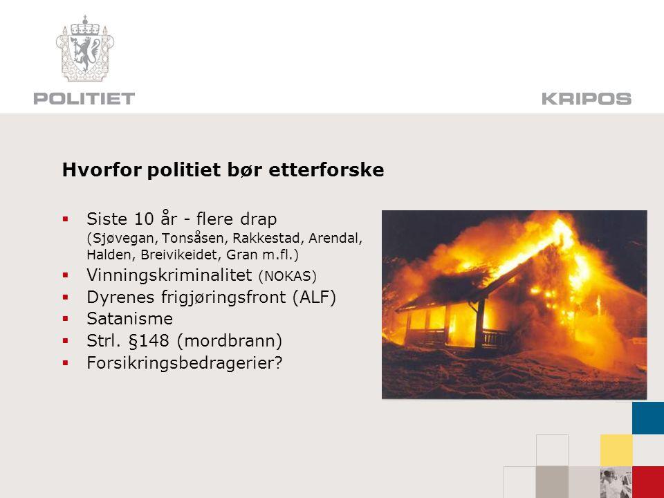Hvorfor politiet bør etterforske  Siste 10 år - flere drap (Sjøvegan, Tonsåsen, Rakkestad, Arendal, Halden, Breivikeidet, Gran m.fl.)  Vinningskrimi