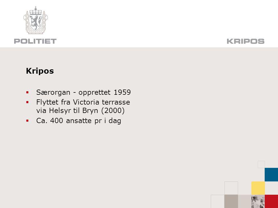 Kripos  Særorgan - opprettet 1959  Flyttet fra Victoria terrasse via Helsyr til Bryn (2000)  Ca. 400 ansatte pr i dag