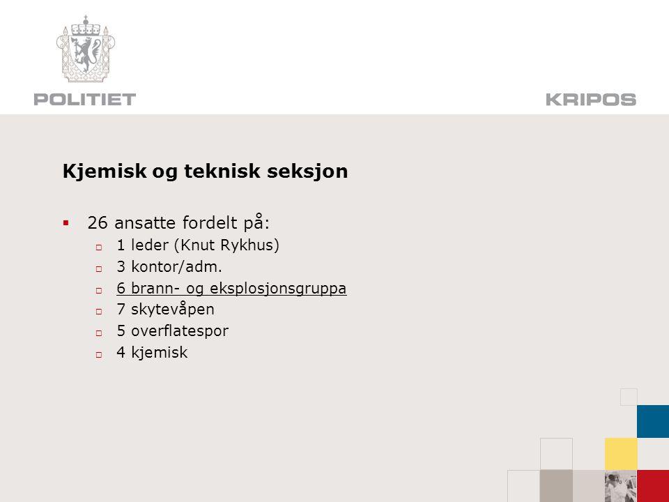 Kjemisk og teknisk seksjon  26 ansatte fordelt på:  1 leder (Knut Rykhus)  3 kontor/adm.  6 brann- og eksplosjonsgruppa  7 skytevåpen  5 overfla