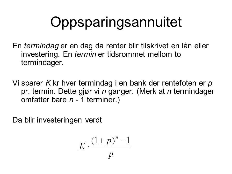 Oppsparingsannuitet En termindag er en dag da renter blir tilskrivet en lån eller investering. En termin er tidsrommet mellom to termindager. Vi spare