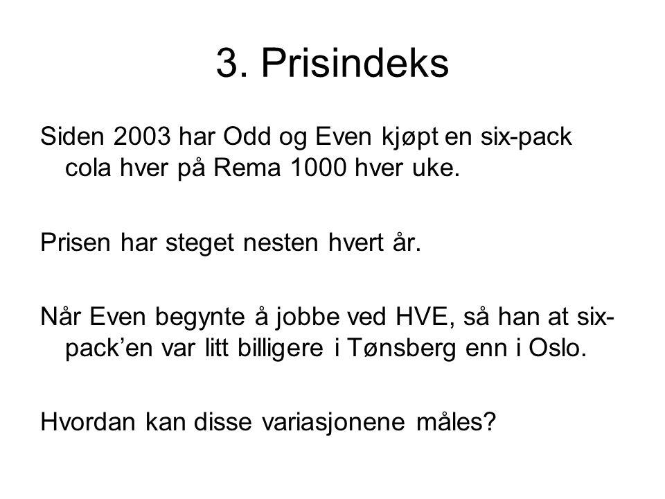 3. Prisindeks Siden 2003 har Odd og Even kjøpt en six-pack cola hver på Rema 1000 hver uke. Prisen har steget nesten hvert år. Når Even begynte å jobb