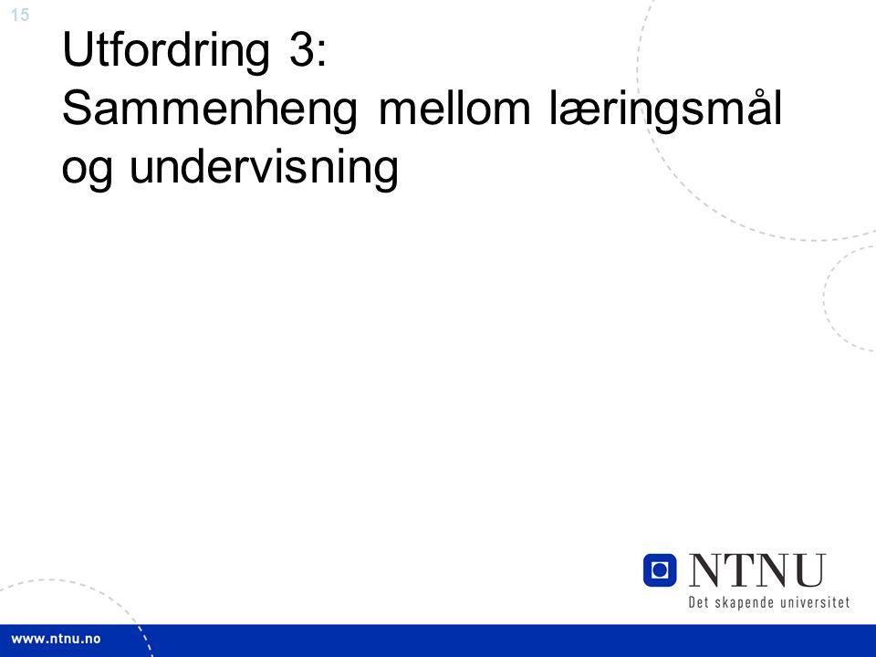 15 Utfordring 3: Sammenheng mellom læringsmål og undervisning