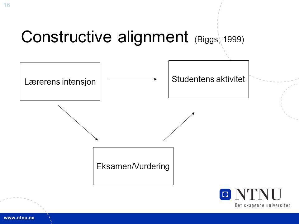 16 Constructive alignment (Biggs, 1999) Lærerens intensjon Studentens aktivitet Eksamen/Vurdering