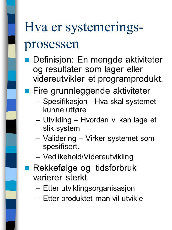 Hva er systemerings- prosessen Definisjon: En mengde aktiviteter og resultater som lager eller videreutvikler et programprodukt.