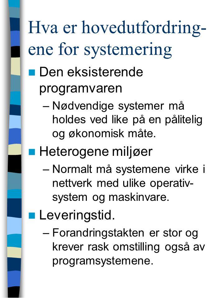 Hva er hovedutfordring- ene for systemering Den eksisterende programvaren –Nødvendige systemer må holdes ved like på en pålitelig og økonomisk måte.